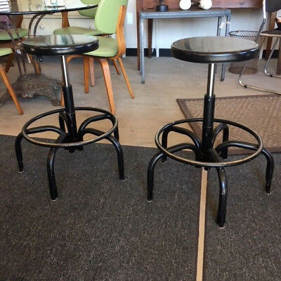 Pair of Vintage Industrial Metal Stools