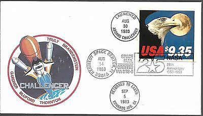STS-8 1983 OFFICIAL NASA COVER w/FOLDER FLOWN ON CHALLENGER SHUTTLE #1909