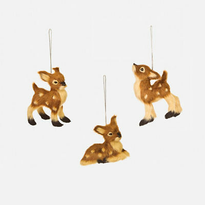 Brown Deer Family Set of 3 Furry Ornaments NEW Woodland