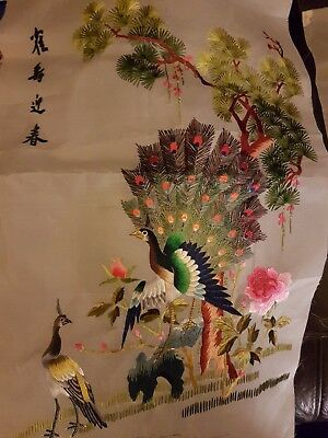 Chinese hand Embroidered  silk  picture featuring  different birds