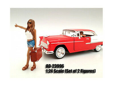 Diecast Hitchhiker 2 Piece Figure Set For 1:24 Scale Models by American Diorama