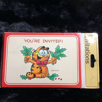 Vintage Garfield Invitation Cards Pack Of 8 Xmas Holiday Party Event Jim Davis