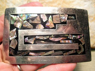 VINTAGE Hand Made & Engraved with Inlay & Heavy Western Belt Buckle