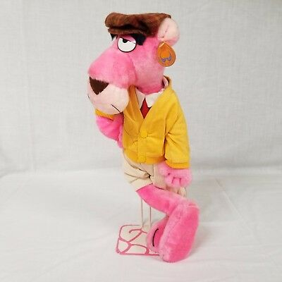 "Vintage Pink Panther Plush Cool Cat Mighty Star Touch Of Velvet 16"" Poseable Toy"