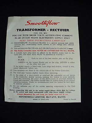 Smoothflow Transformer - Rectifier Instructions Cat. No. SF1