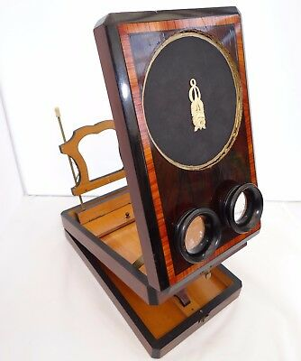 Fine Antique Victorian Stereoscopic Viewer With Adjustable Stand & Wooden Box