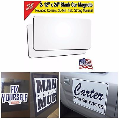 """Blank Car Magnets Printable Magnet Sheet Sign Making Supplies 12"""" x 24"""" 2 Pack"""