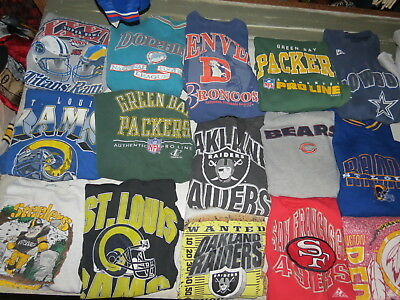 LOT OF 21 NFL SWEATSHIRTS PACKERS RAMS COWBOYS ADULT SIZES MENS RAIDERS VTG 90s