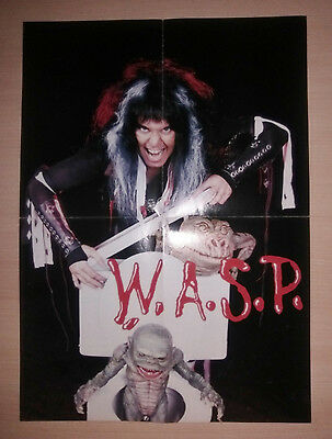 WASP , Blackie Lawless , Vintage Folded Poster 80's , EX Condition , W.A.S.P