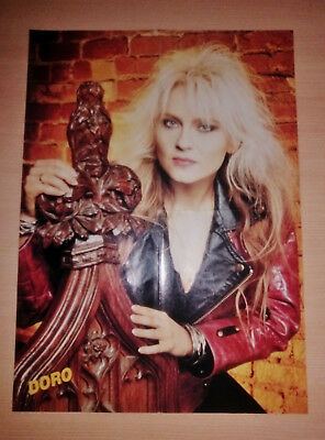 Doro Pesch , Warlock , Vintage Folded Poster 80's , EX Condition , Accept , Wasp