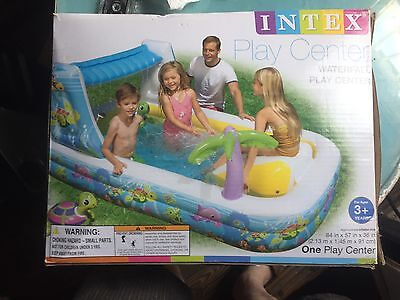 New INTEX Large Waterfall Play Center Water Sprayer Pool Slide Turtle Toy Fun 2+