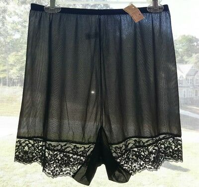 Vtg Black Vanity Fair Double Gusset Pettipants Bloomers Tap Panties with Lace 7