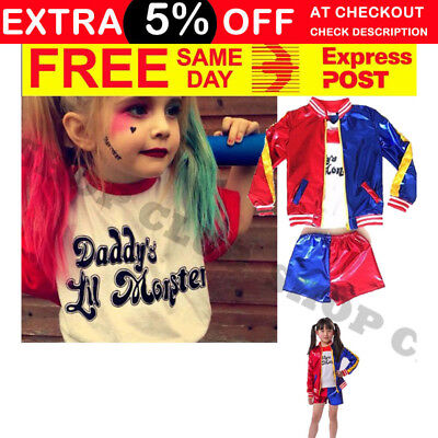 KIDS Harley Quinn Suicide Squad Full Costume Set Jacket Shirt Shorts Halloween