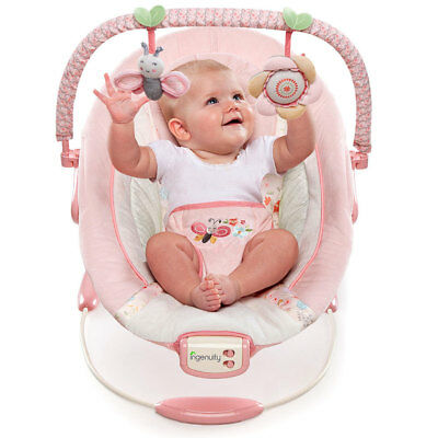 Ingenuity Cradling Baby/Infant Bouncer Felicity Floral/Music/Vibrations/Toy/Pink