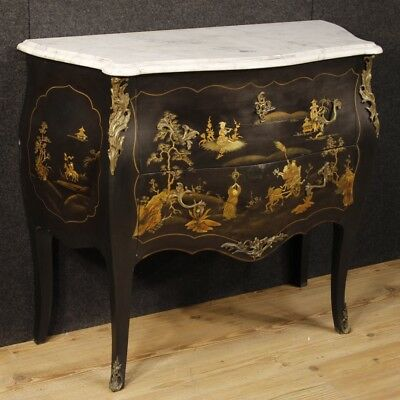 Dresser french lacquered chinoiserie furniture wood level marble antique style