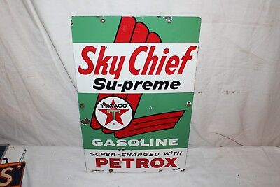 "Vintage 1963 Texaco Sky Chief Gasoline Gas Pump Plate 18"" Porcelain Metal Sign"