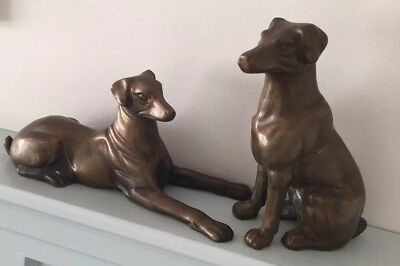 Two Brass Dogs Sitting Standing Door Stop Heavy Regal Vintage Decorative Pieces