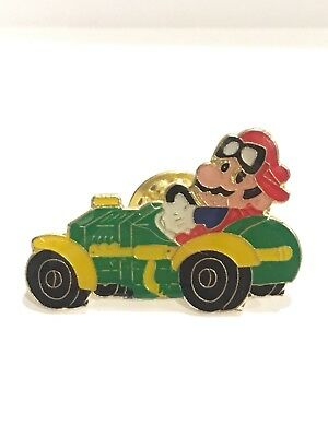Mario In Race Car, Vintage Nintendo Collector Pins, Mario Driving Rat Rod 1985