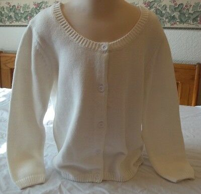 Funtasia too Girls White Sweater Button Front New W Tags Size 5T 100% Cotton