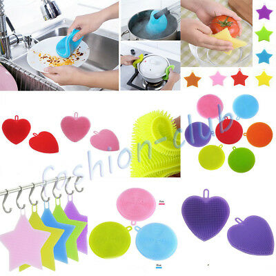 Practical Magic Silicone Scrubber Sponge Kitchen Dish Tableware Stains Cleaning