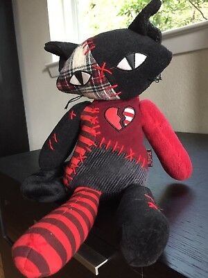 Rare Unique Hard to Find Emily the Strange Patch Work Cat Plush