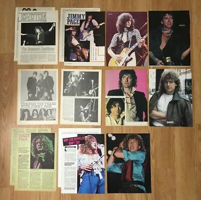 Vintage Led Zepplin Jimmy Page Robert Plant Clippings Pinups Lot Of 15 Pgs