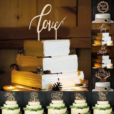 ''Love'' Personalized Wedding Cake Topper Wedding Decoration Wood Wooden Topper