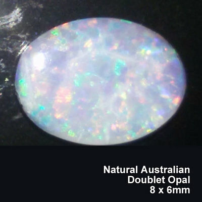 100% Genuine Natural Australian Opal Doublet Opal 0.78ct, Multicolor, 8x6mm Oval