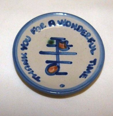 """M A Hadley Music Note Small Plate Coaster THANK YOU FOR A WONDERFUL TIME 4 1/4"""""""