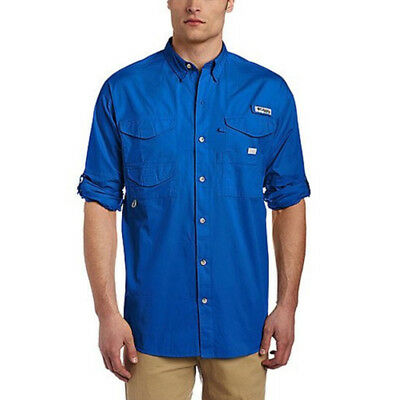 Columbia Bonehead Long Sleeve Collared Shirt - Vivid Blue