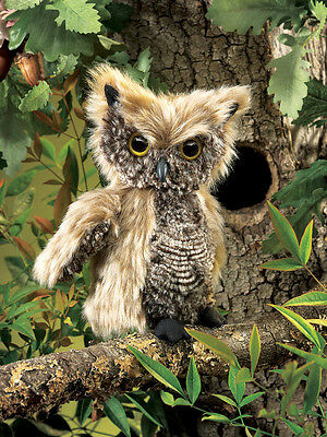 *NEW* PLUSH SOFT TOY Folkmanis 2961 Screech Owl Full Body Hand Puppet - 15cm