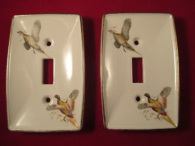 """Vintage Ceramic Switch Plate Covers  Pheasants 4.75X3"""""""