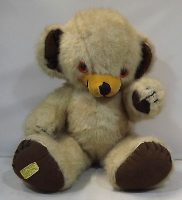 "VINTAGE 1970s 17"" MERRYTHOUGHT THICK PLUSH CHEEKY TEDDY BEAR BELLS IN EARS"