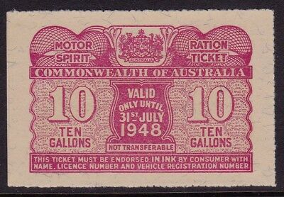 Motor Spirit Ration Ticket  July 1948  10 galls