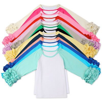 Kids Baby Girl Long Sleeve WARM Fit T-Shirt Cotton Raglan Ruffle Tee Shirt Tops