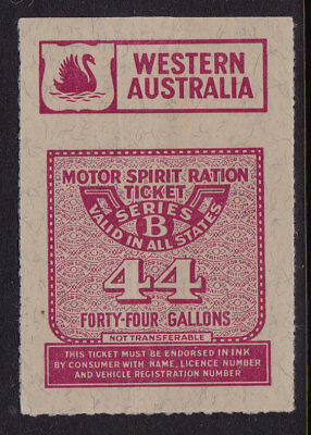 Motor Spirit Ration Ticket  West Aust  series B  44 galls
