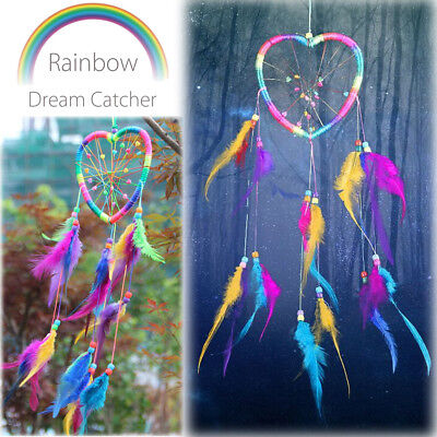 Rainbow Feather Handmade Dream Catcher Feathers Car Wall Hanging Decor Ornament