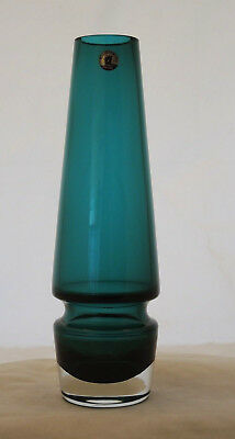1970s RIIHIMAEN LASI TALL GREEN GLASS VASE ON CLEAR BASE ORIGINAL LABEL #3