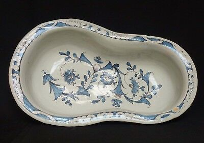 Unusual Blue & Manganese French Faience Bidet Bowl - Signed (Rouen)