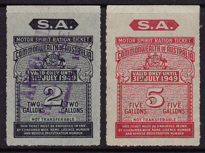 Motor Spirits Ration Ticket  South Aust  July 1949  2 gall & 5 gtall