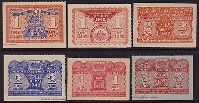 Motor Spirit Ration Tickets  Aust  (6)