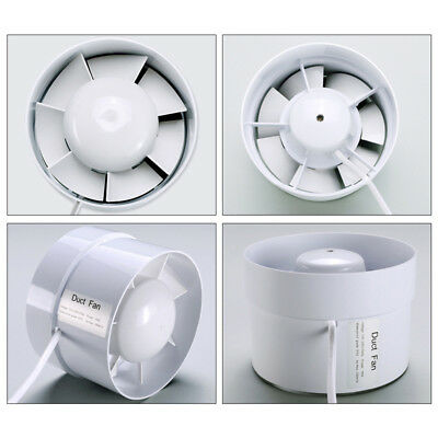"""Plastic 4-6"""" Duct Fan Exhaust Vent Air Cooled Hydroponic Inline Blower White"""