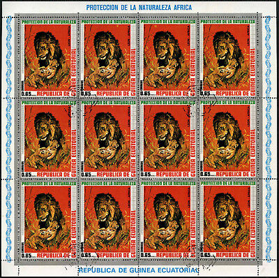 Equatorial Guinea 1970's 65e Wildlife Lions Cto Used Full Sheet #V5648