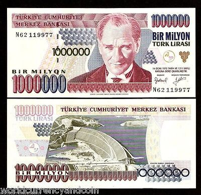 Turkey 1000000 1,000,000 Lira P209 1995 Bundle Ataturk Dam Unc Million 100 Note