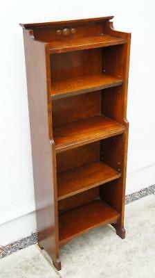 Early 20th c narrow, tall Oak  open waterfall  bookcase adjustable shelves  VGC
