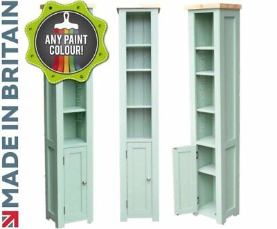 100% Solid Wood Bordeaux F&B Painted Tall Narrow Bookcase with Cupboard