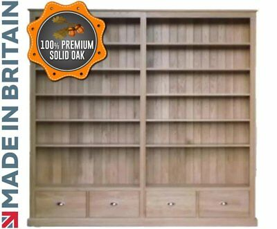 """Solid Oak Bookcase, 7ft 6"""" x 8ft Handcrafted Shelving, Bookshelves with Drawers"""