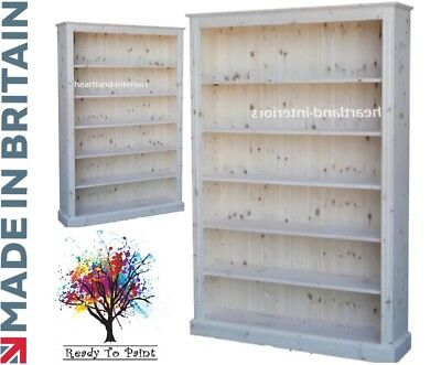 Solid Pine Bookcase, 6ft x 4ft Display Shelving, Bookshelves in Bare Wood