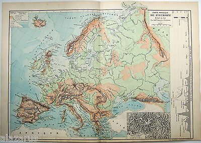 Original French Physical Map of Europe by Drioux & Leroy Paris 1884