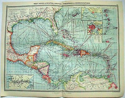 Original Map of West Indies Industries & Communication by George Philip c1907